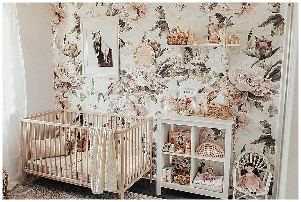 boho nursery, girls nursery, floral wallpaper