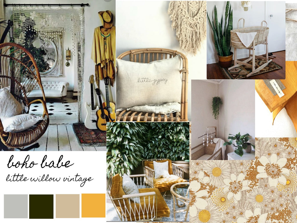 Boho Babe inspiration board by Little Willow Vintage.. baby bedding and blankets
