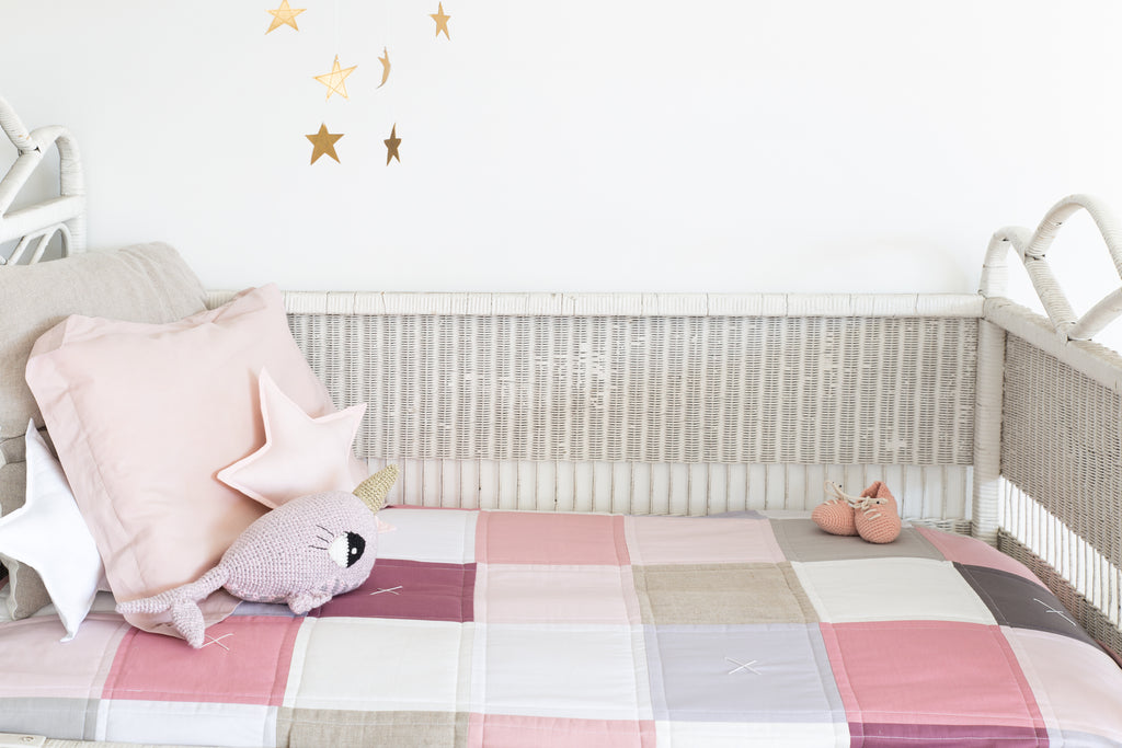 Nursery trend blush pink.. vintage girls nursery style with the Charlotte Quilt by www.littlewillowvintage.com. Handmade in Australia.