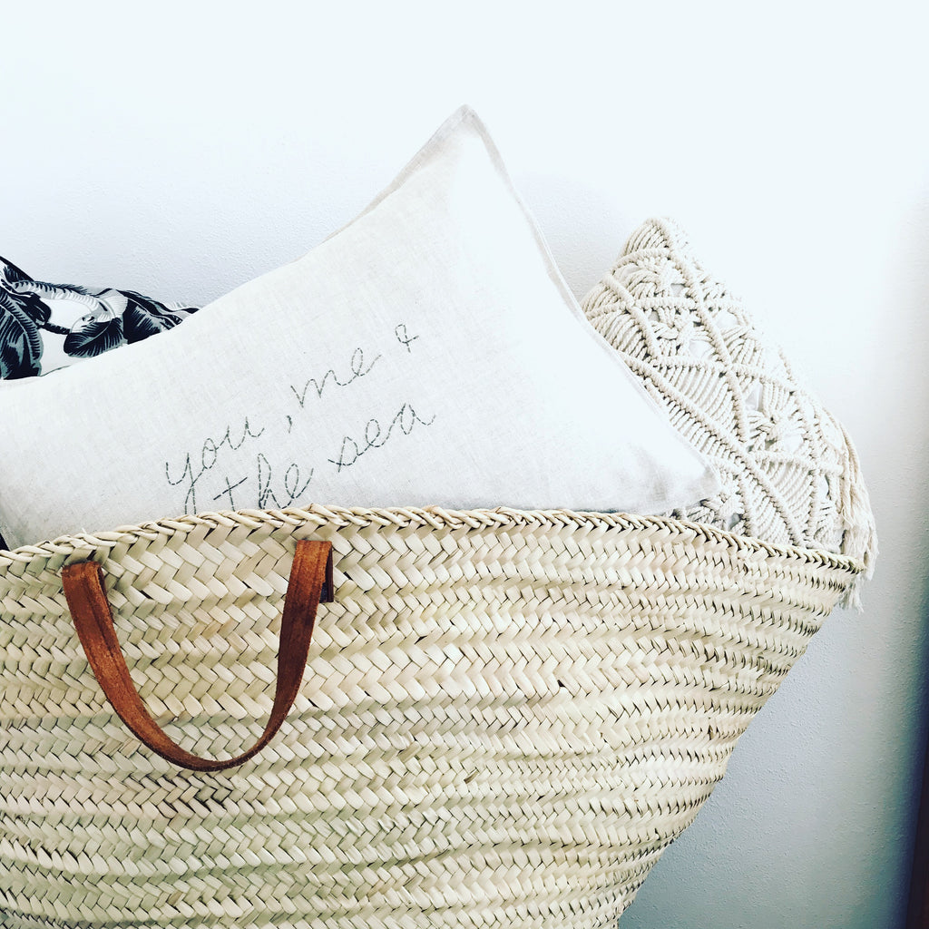 linen cushion, hand stitched with you, me and the sea.