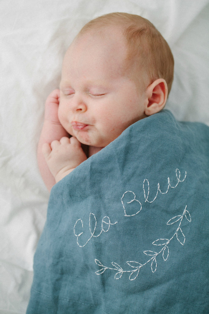 Hanstitched personalised linen baby blanket