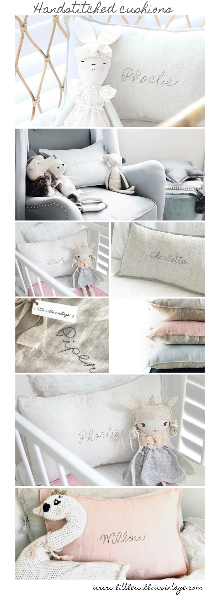 Handstitched linen cushions and pillows by Little Willow Vintage..baby wares inspired by simpler times. www.littlewillowvintage.com.au