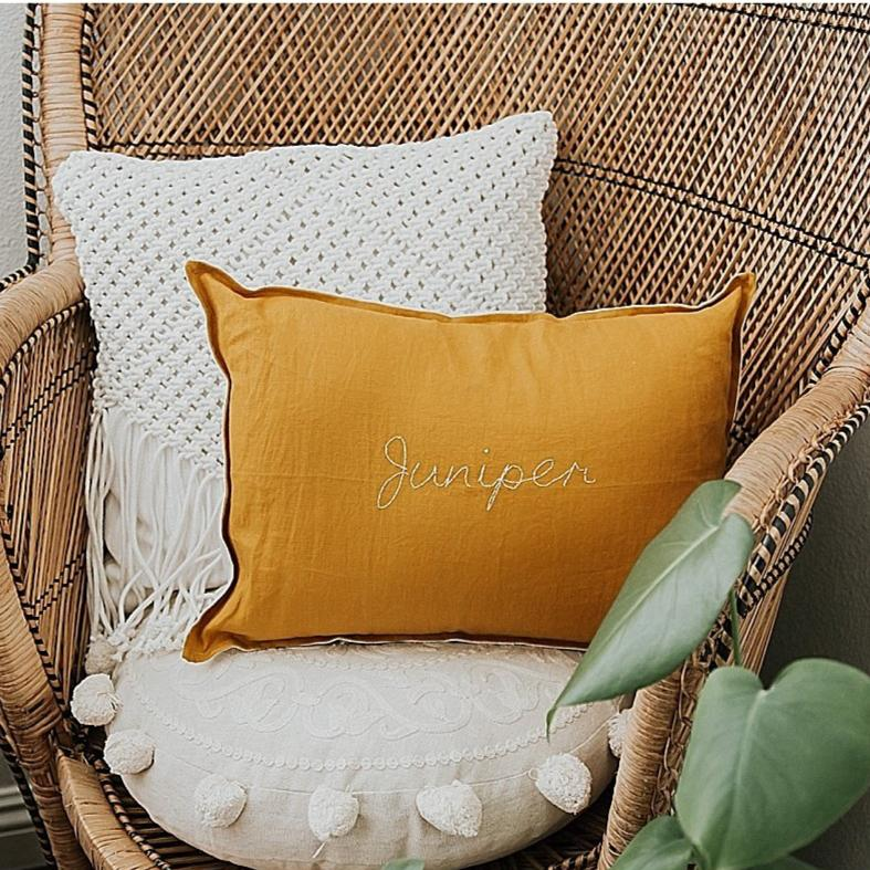 Custom Hand Stitched Cushion -MUSTARD