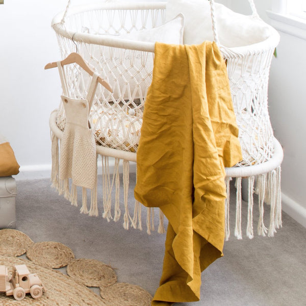 The Simple Linen Baby Wrap - MUSTARD RTS