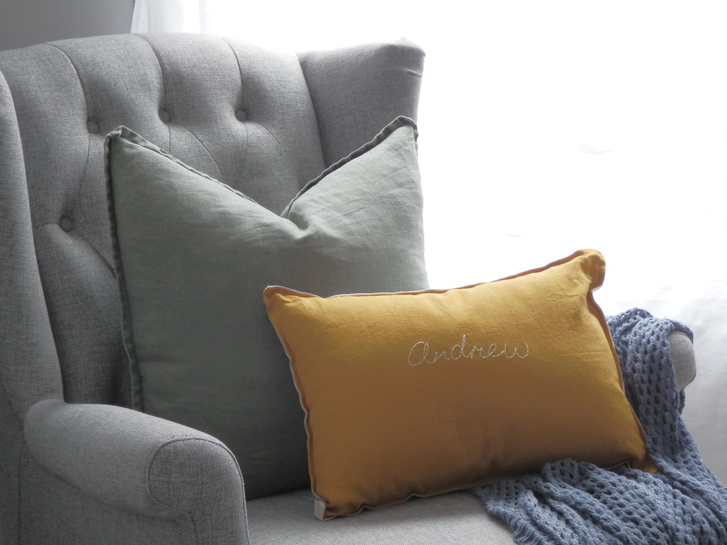 Custom Hand Stitched Cushion Cover -MUSTARD