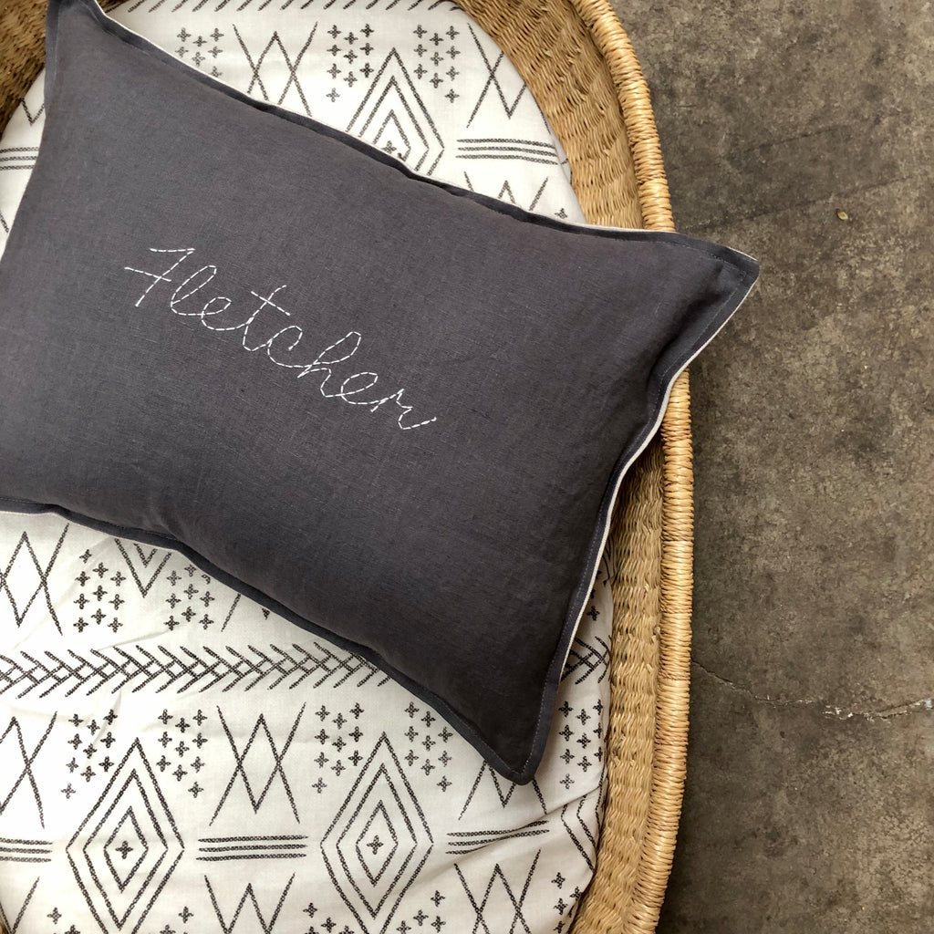 Custom hand stitched cushion cover - CHARCOAL