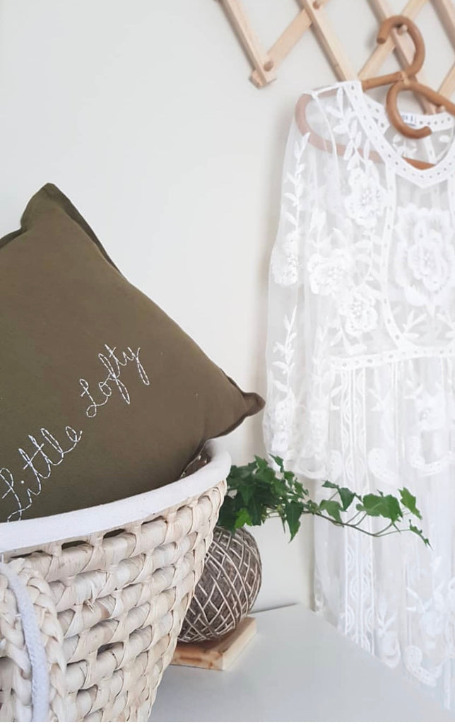 Custom hand stitched cushion cover - OLIVE