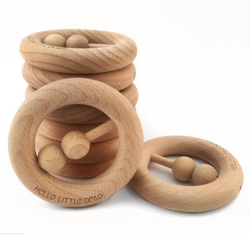 RAW Beech wood -rattle/ teether