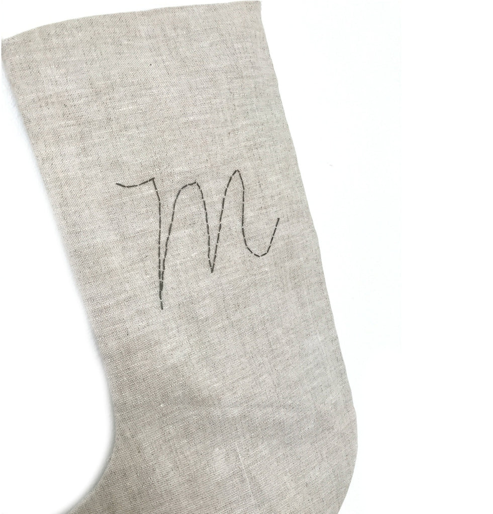 Handstitched Linen Christmas Stocking