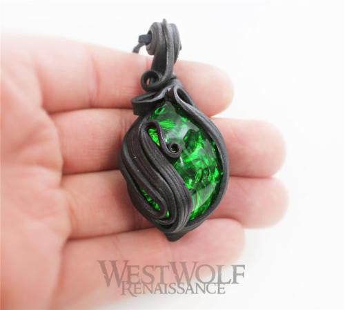 Sculpted Leather Green Stone