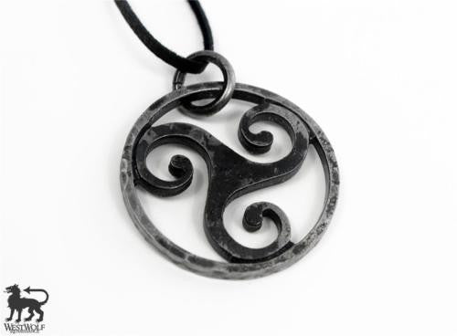 Hand-Forged Celtic Steel Triskelion Pendant