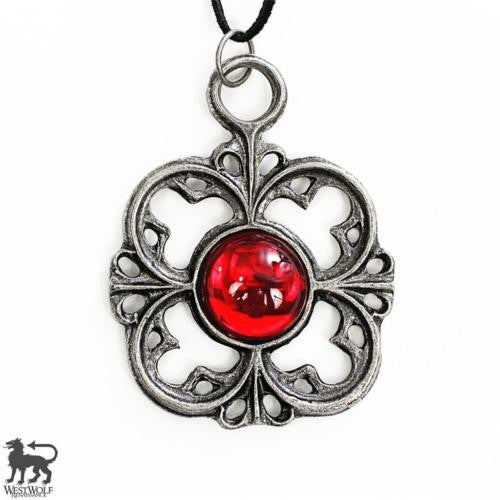 Gothic / Victorian Floral Cross Red Ruby Pendant