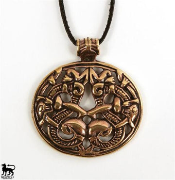 Bronze Viking Double Dragon / Serpent Pendant