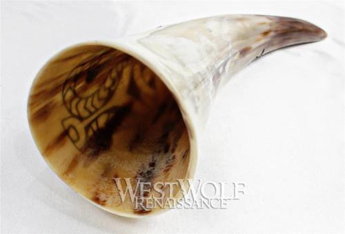 Hand-Carved Viking Dragon Drinking Horn with Forged Iron Stand