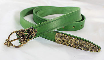 Viking Medieval Long Belt - 63 Inch Green Leather