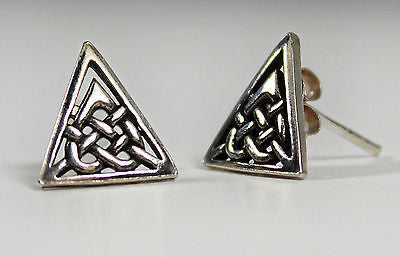 Silver Celtic Knot Triangle Earrings