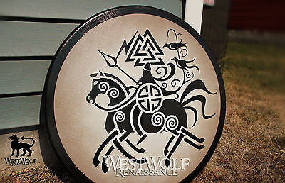 Round Wooden Viking Odin Shield - Norse Armor