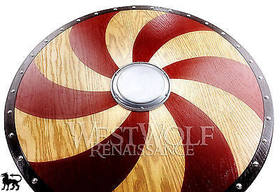 Viking Red Spiral Shield - Made of Golden Oak Wood