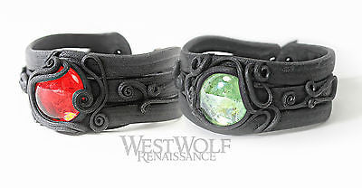 Sculpted Leather Bracelet with Center Stone