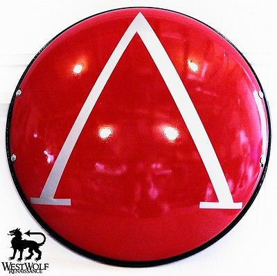 Steel Greek Lambda Shield - Red and Silver