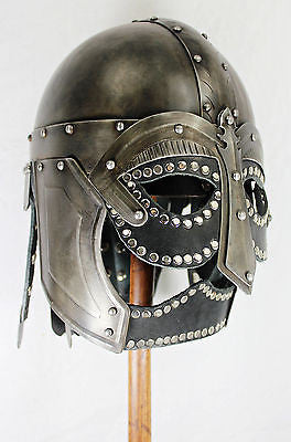 Hand-Forged Steel Viking Helmet w/Black Leather