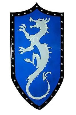 Gothic Wooden Dragon Shield with Blue Background