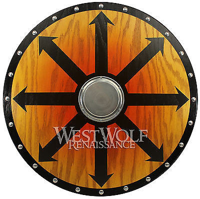 Round Wooden Viking Berserker Shield - 26 inch Full Size