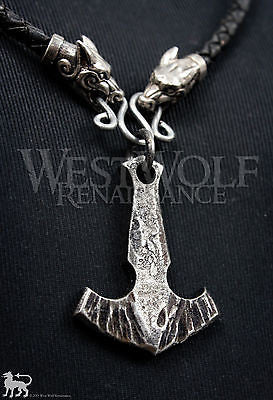 Forged Viking MJOLNIR Thor's Hammer Pendant + Leather Wolf Necklace Norse