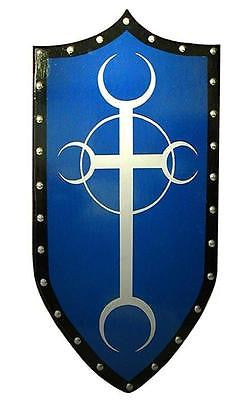 Gothic Moon Cross Shield with Blue Background