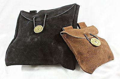 Medieval Renaissance Crusader Knight Black Leather War Pouch