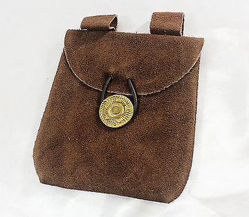 Medieval Renaissance Leather Brown Suede Coin Belt Pouch