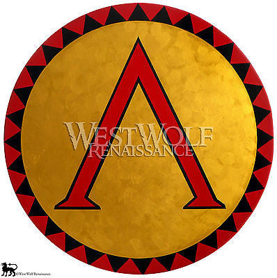 Round Gold Greek Lambda Shield with Triangle Border Pattern