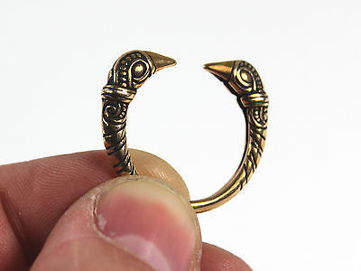 Viking Raven Head Ring - Polished Bronze - US Size 9, 10, 11