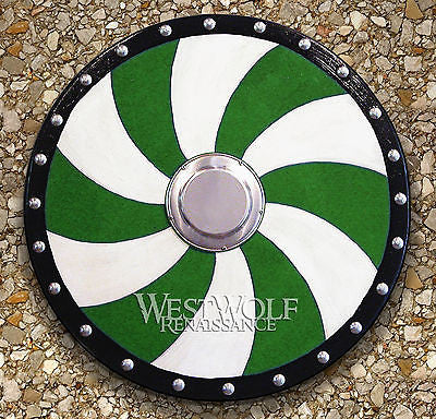 Round Viking Spiral Shield - Green & White