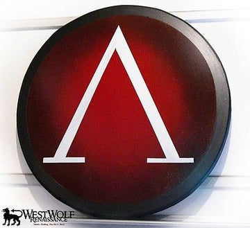 Classic Round Greek Lambda Shield in Red and White