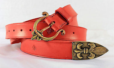 Medieval Renaissance Red Leather Fleur de Lis War Belt