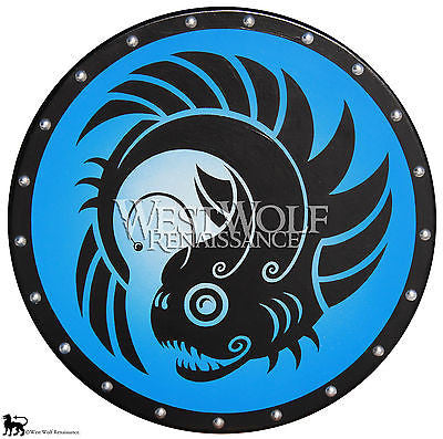 Round Greek Lantern Fish Shield with Blue Fade Background