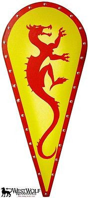 Kite Shield with Red Dragon and Yellow Background