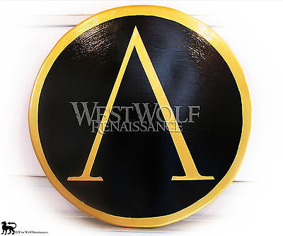 Classic Round Greek Gold and Black Lambda Shield