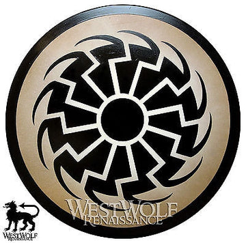 Round Black Sun Viking Shield