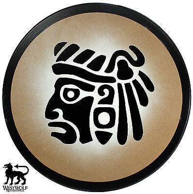 Round Wooden Mayan Warrior Face Shield
