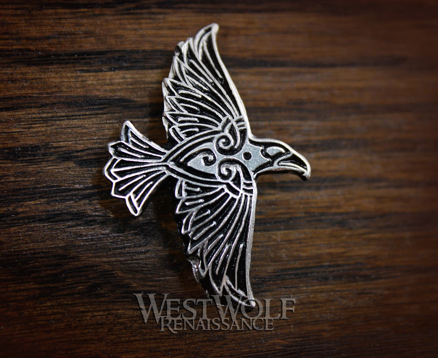 Celtic / Viking Flying Raven Pin - Made of Solid Pewter