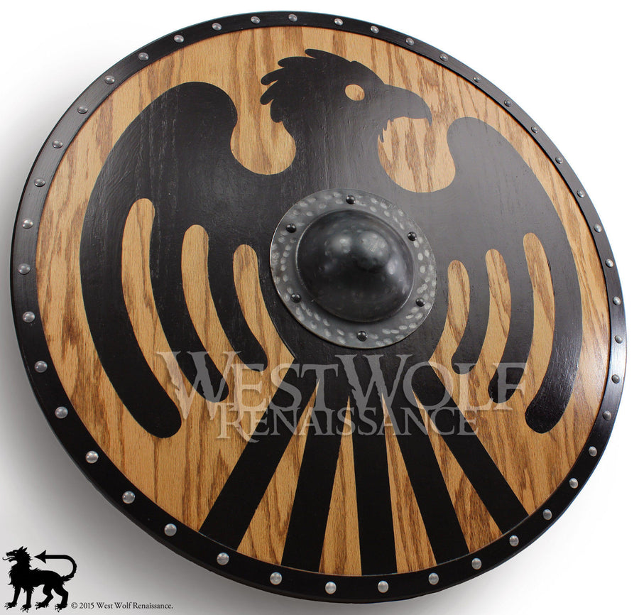Viking Black Eagle Shield with Forged Iron Boss