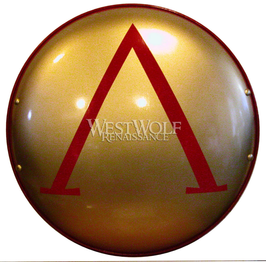 Steel Greek Lambda Shield - Gold and Red
