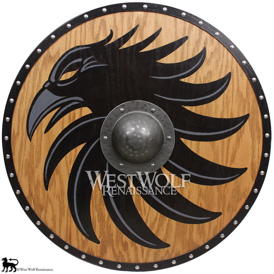 Solid Oak Viking Raven Shield - Forged Iron Boss