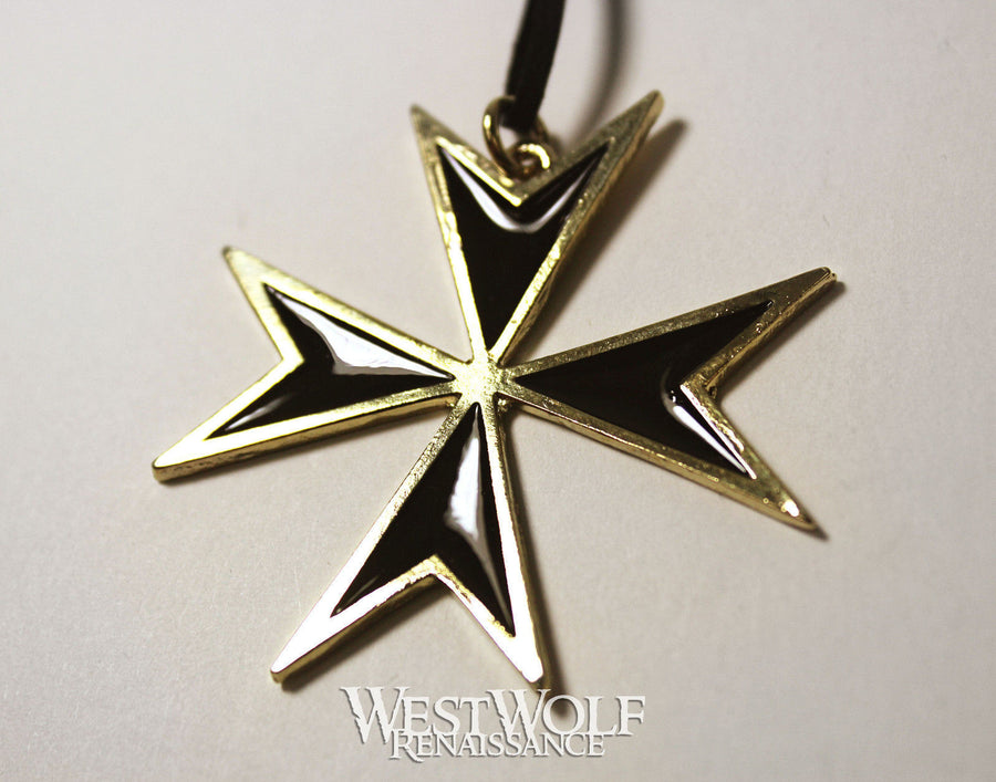 Black & Gold Maltese Cross Pendant