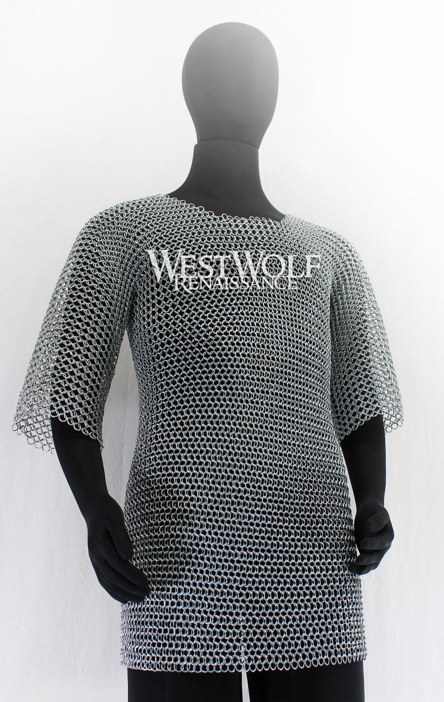 Steel Chainmail Haubergeon Replica Armor Long Shirt