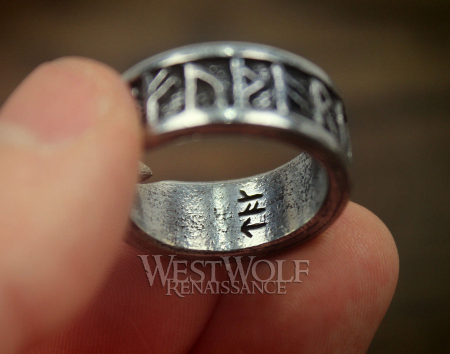 Viking Rune Ring - Adjustable Size - Fits US Sizes 9-13