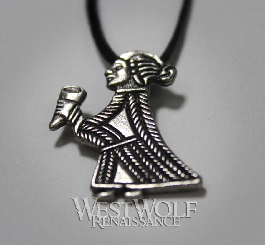 Viking Valkyrie with Drinking Horn Pendant