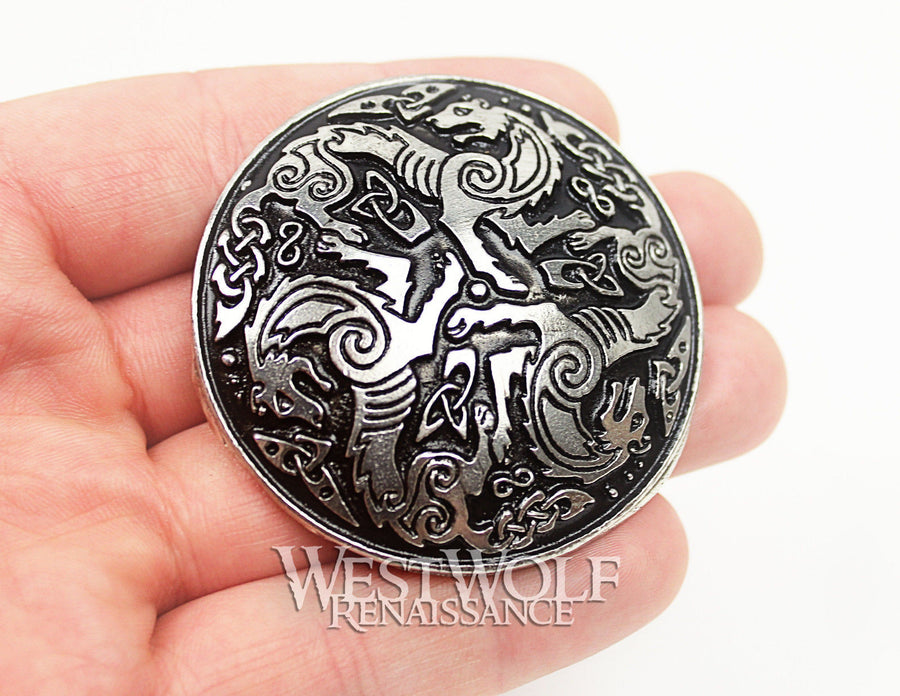 Celtic Wolf / Direwolf Brooch or Cloak Pin - 2 Sizes Available